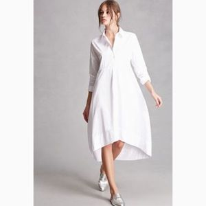 Dresses & Skirts - White shirt dress Hi Lo hem, pockets, stretch M